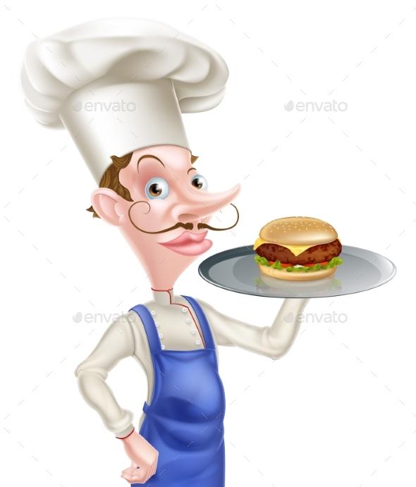 Cartoon Chef Burger - Food Objects