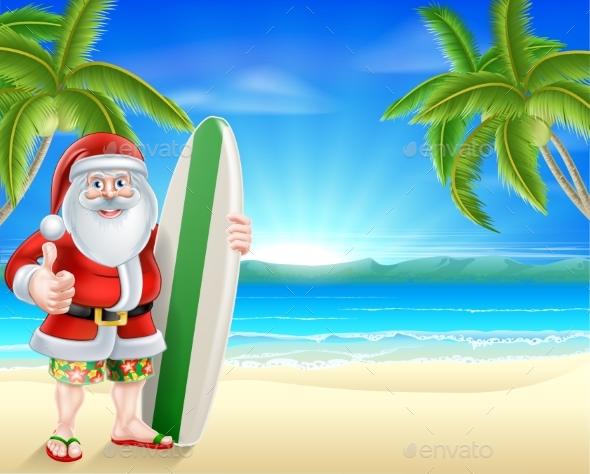 Tropical Beach Santa - Christmas Seasons/Holidays