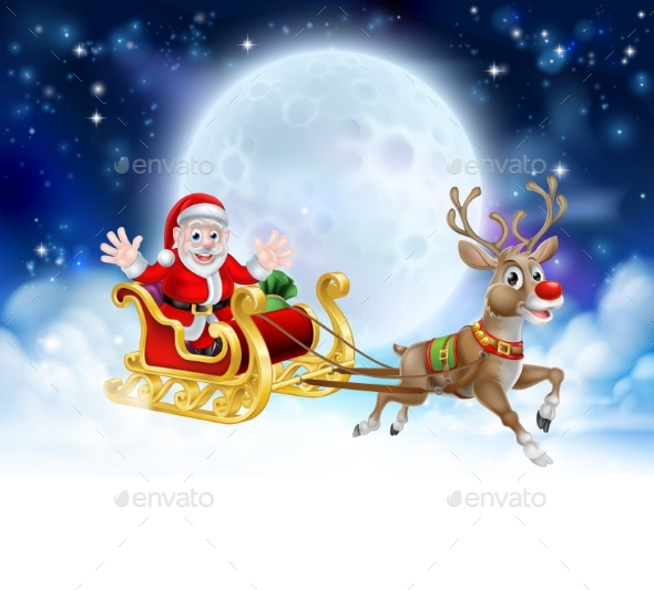 Santa Sleigh Header - Christmas Seasons/Holidays