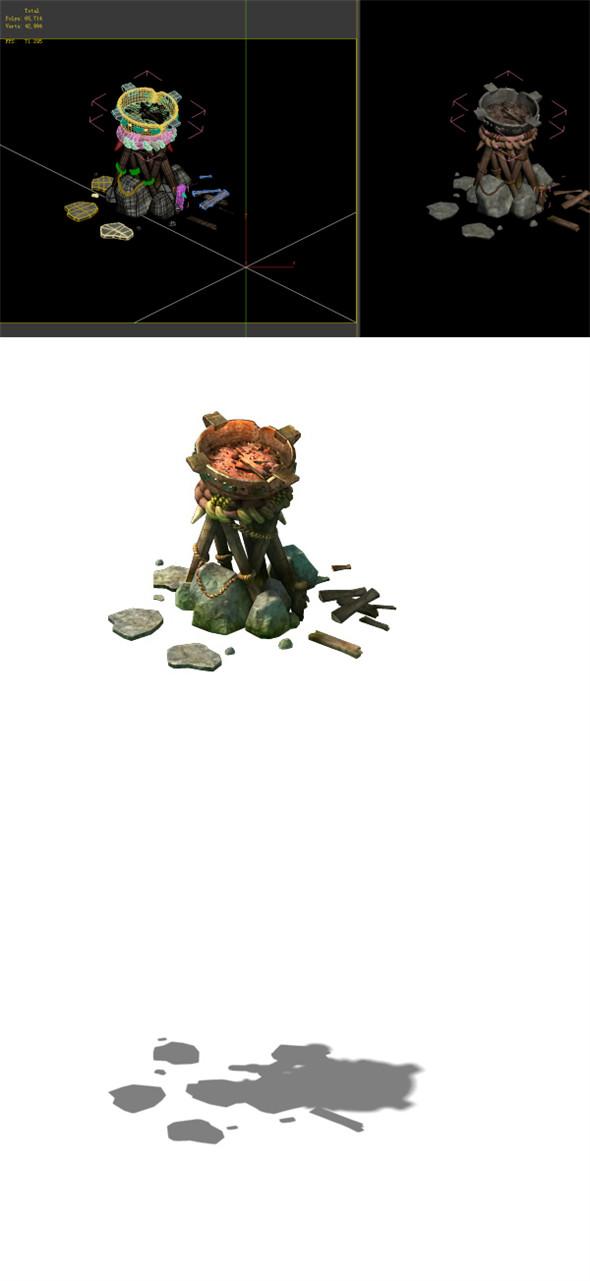 Game Model - prairie scene - Black Wind Village brazier 01 - 3DOcean Item for Sale