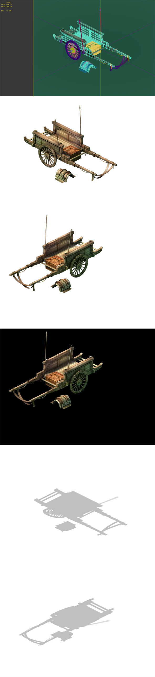 Game Model - prairie scene - Black Wind Village carriage 01 - 3DOcean Item for Sale