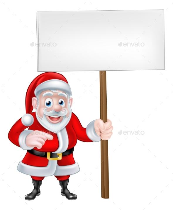Santa Holding a Sign and Pointing - Christmas Seasons/Holidays