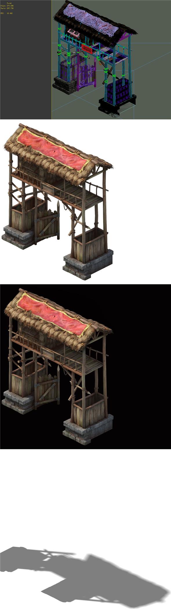 Game Model - prairie scene - Black Wind Village gate 01 - 3DOcean Item for Sale