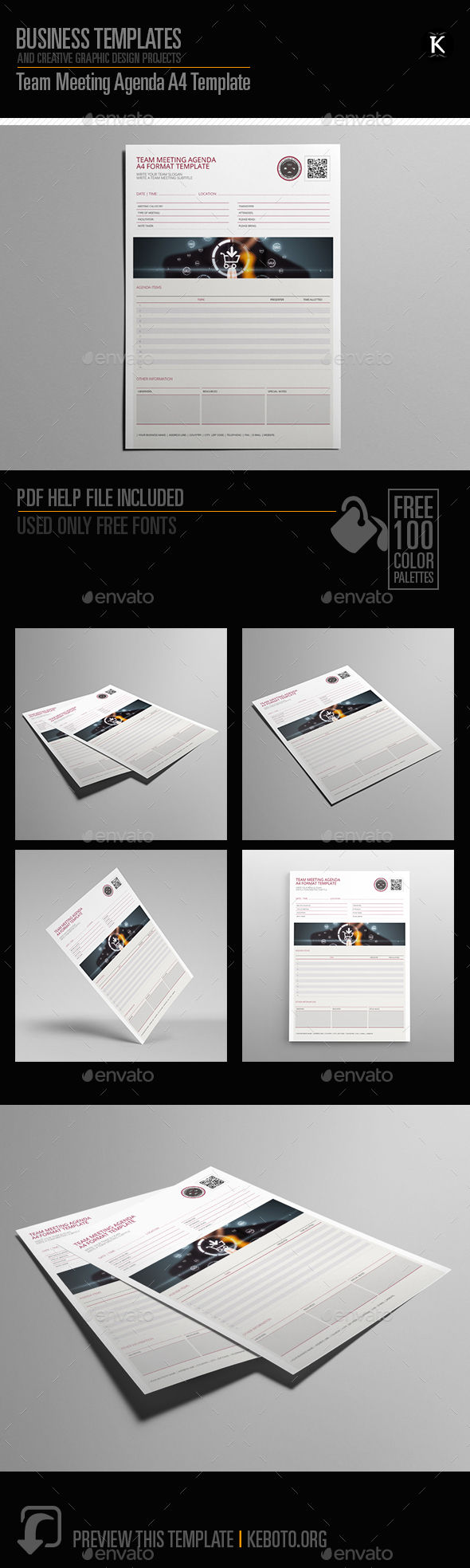 Team Meeting Agenda A4 Template - Miscellaneous Print Templates