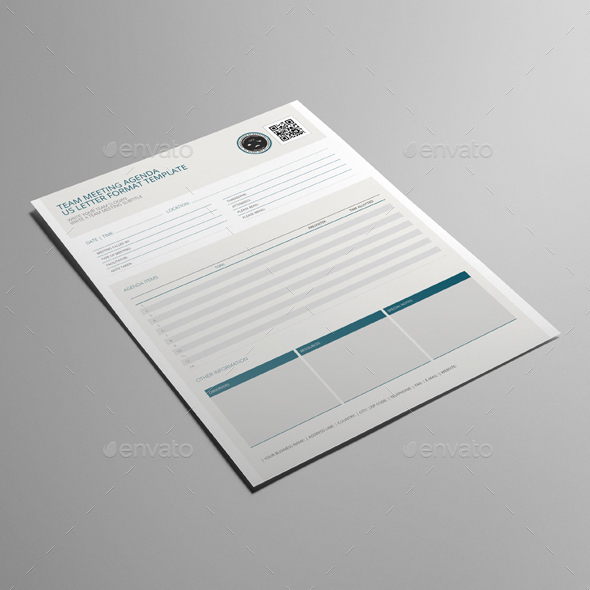Team Meeting Agenda US Letter Template by Keboto | GraphicRiver