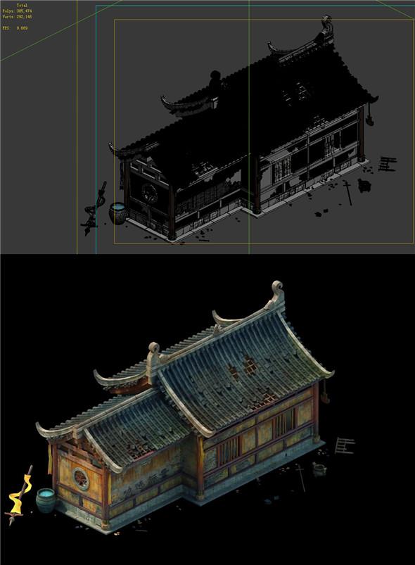 Game Model - prairie scene - Broken Temple 02 01 - 3DOcean Item for Sale