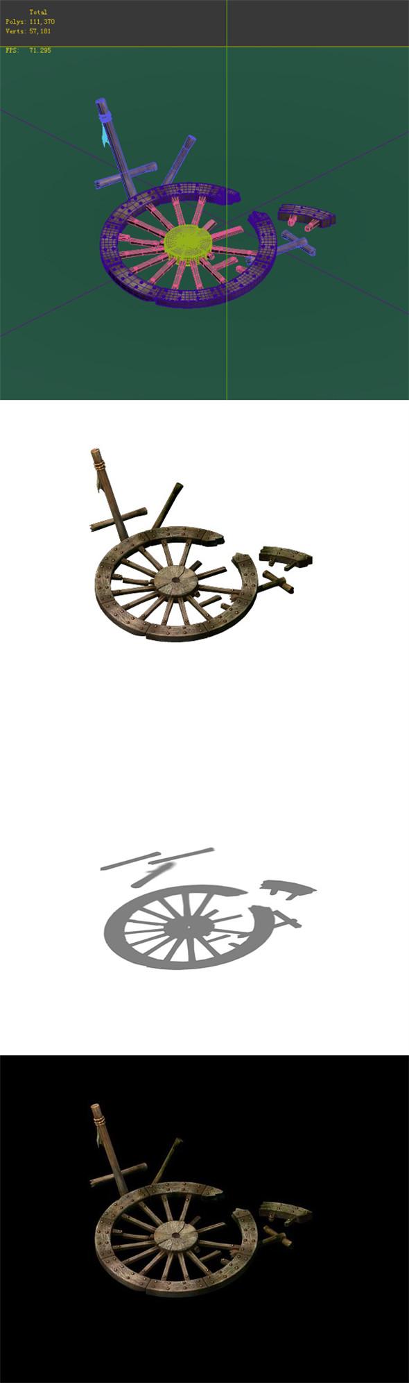 Game Model - prairie scene - Broken Wheel 01 - 3DOcean Item for Sale