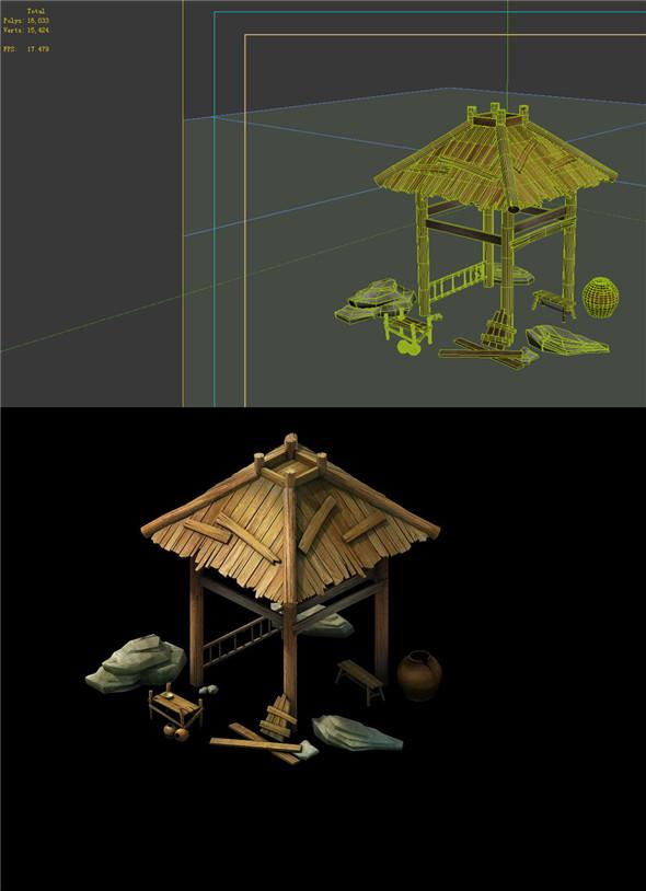 Game Model - prairie scene - gazebo 02 01 - 3DOcean Item for Sale