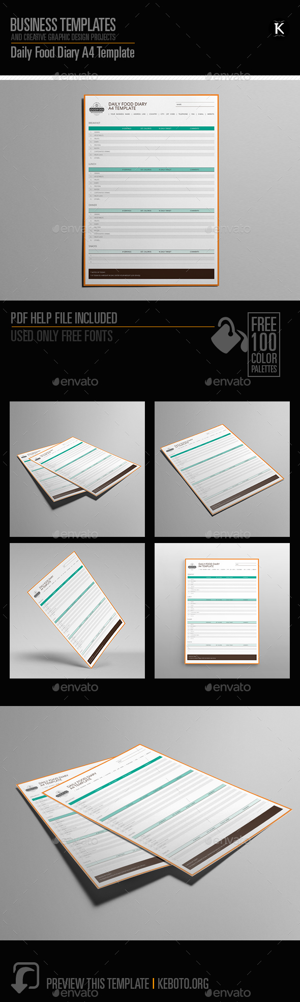 Daily Food Diary A4 Template - Miscellaneous Print Templates