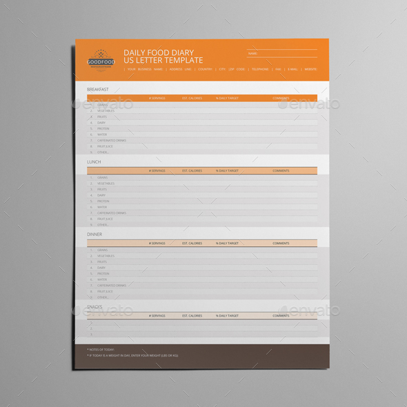 Daily Food Diary US Letter Template by Keboto | GraphicRiver