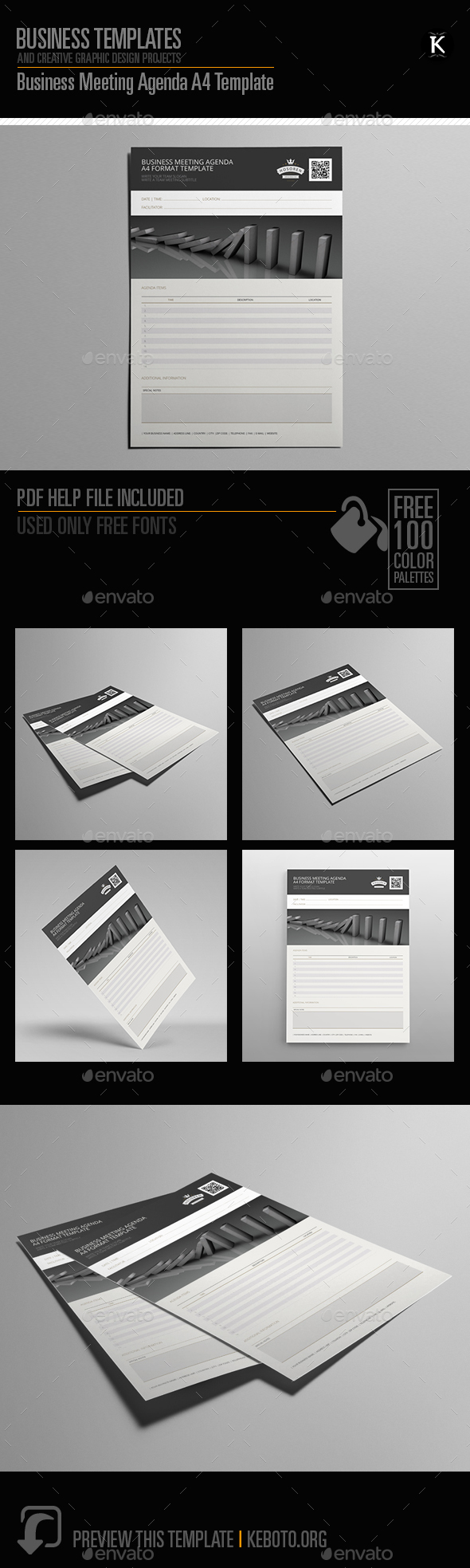Business Meeting Agenda A4 Template - Miscellaneous Print Templates