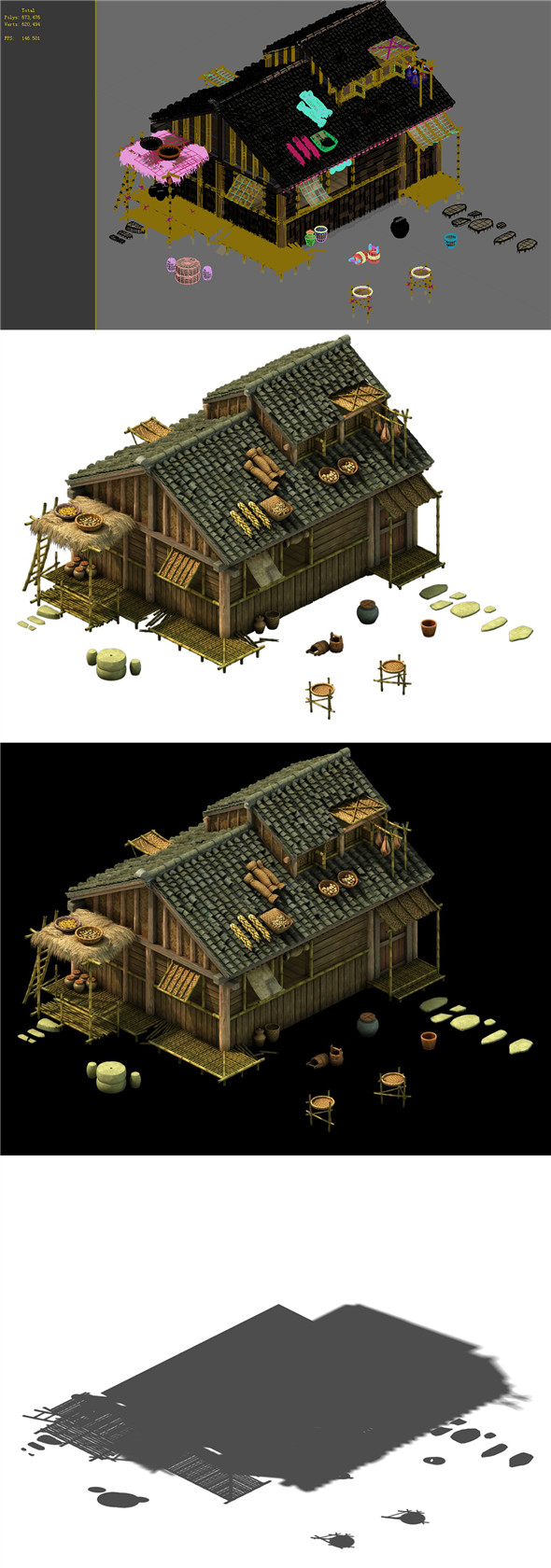 Game Model - prairie scene - Grassland Area Houses 01 - 3DOcean Item for Sale