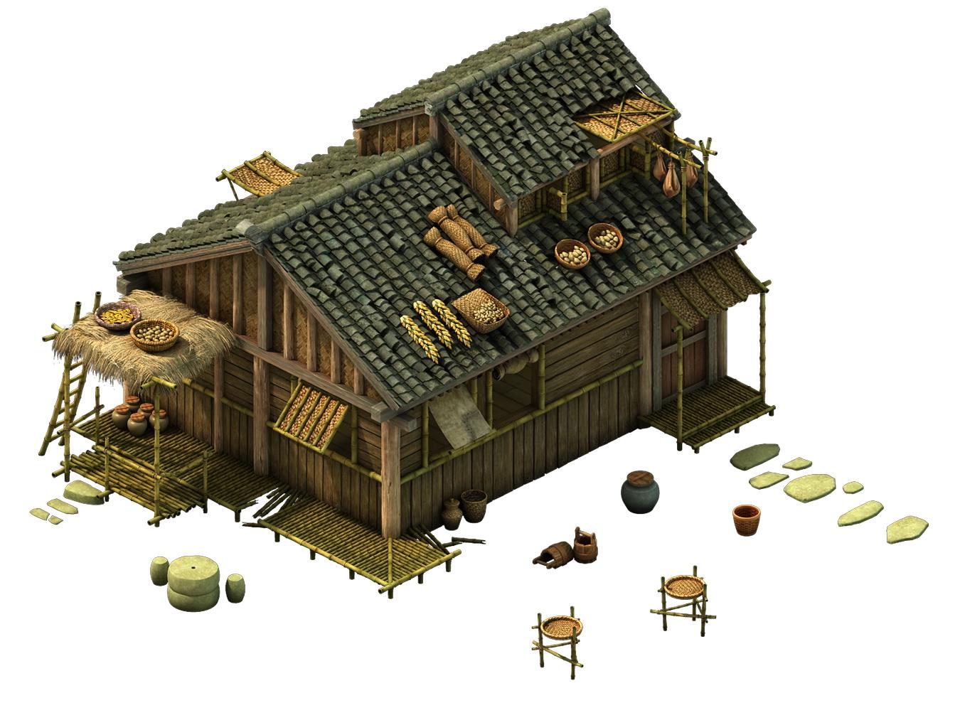 Game Model - prairie scene - Grassland Area Houses 01