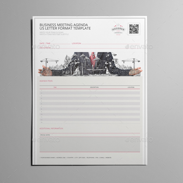 Business Meeting Agenda Us Letter Template By Keboto  Graphicriver