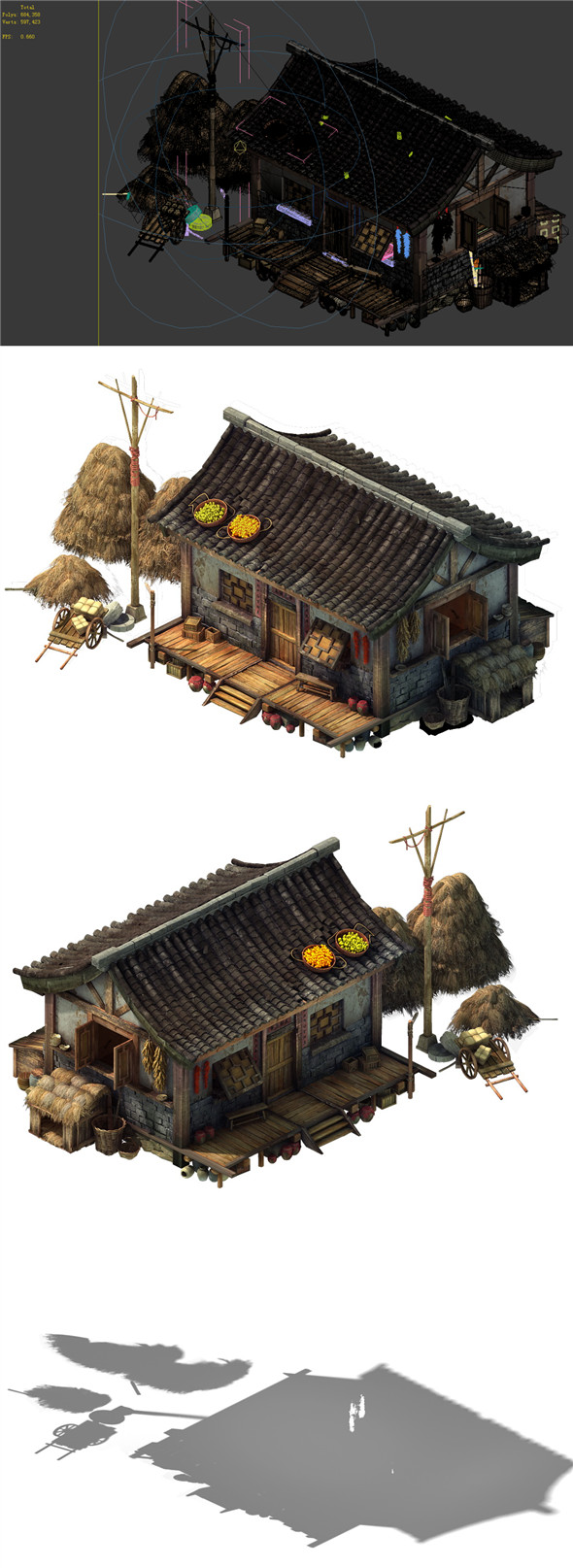 Game Model - prairie scene - Grassland Area Houses 02 01 - 3DOcean Item for Sale