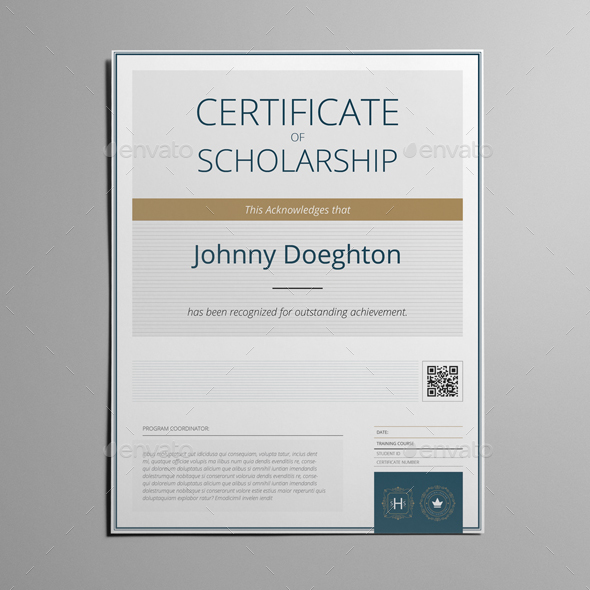 Certificate of Scholarship US Letter Template by Keboto | GraphicRiver