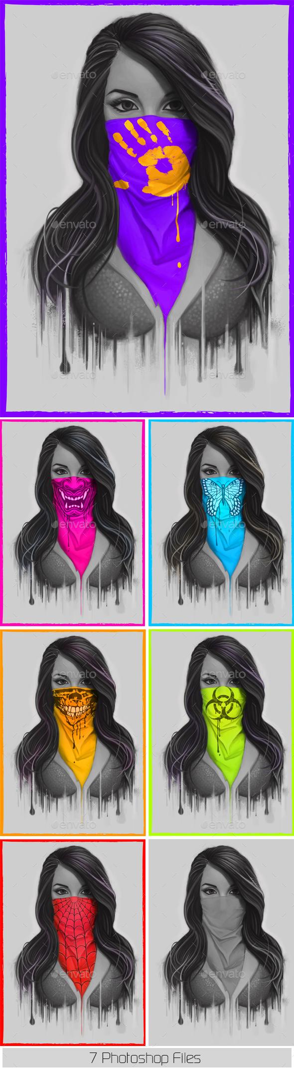 Masked Bandit Girl - People Illustrations