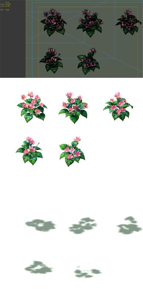 Game Model - prairie scene - long flower plants 01 - 3DOcean Item for Sale