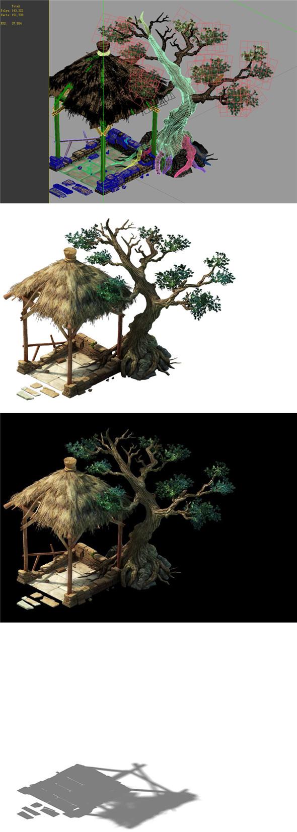 Game Model - prairie scene - long tree gazebo 01 - 3DOcean Item for Sale
