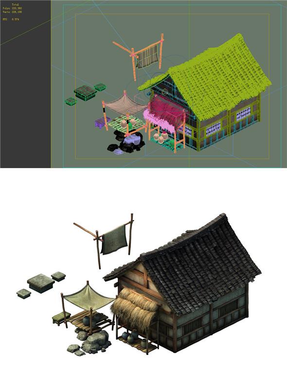 Game Model - prairie scene - small village house 01 - 3DOcean Item for Sale