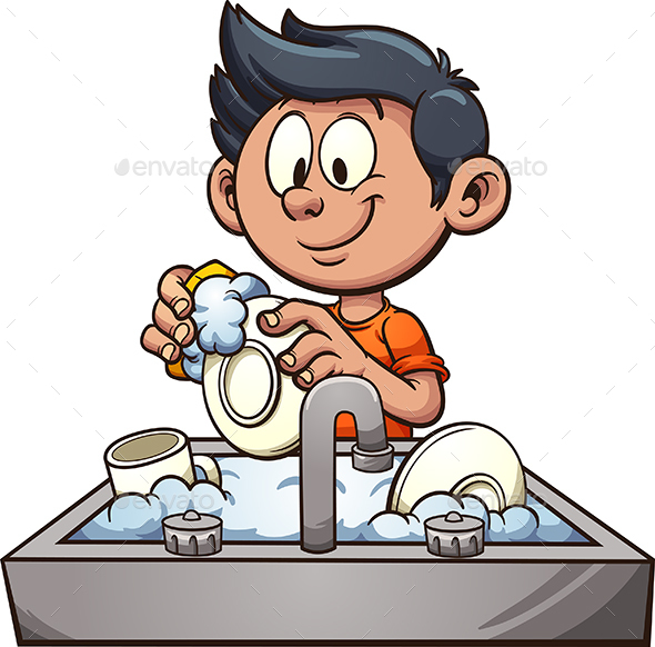Boy Washing Dishes - People Characters