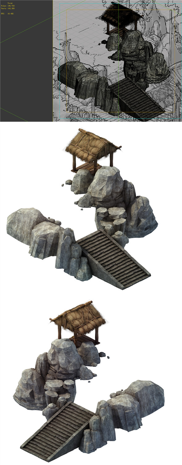 Game Model - prairie scene - stairs huts 01 - 3DOcean Item for Sale