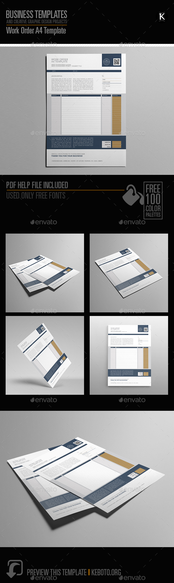 Work Order A4 Template - Miscellaneous Print Templates