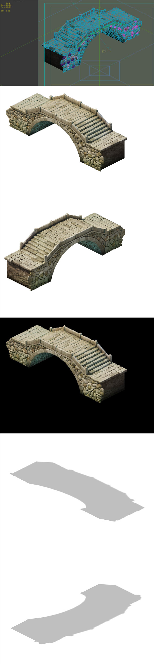 Game Model - prairie scene - Stone Bridge 01 - 3DOcean Item for Sale