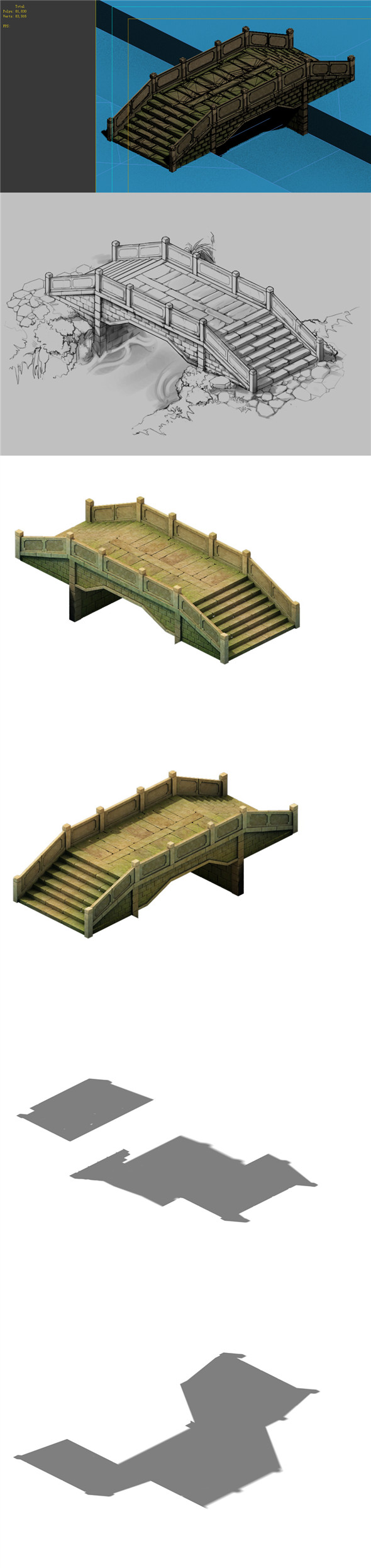 Game Model - prairie scene - Stone Bridge 02 01 - 3DOcean Item for Sale