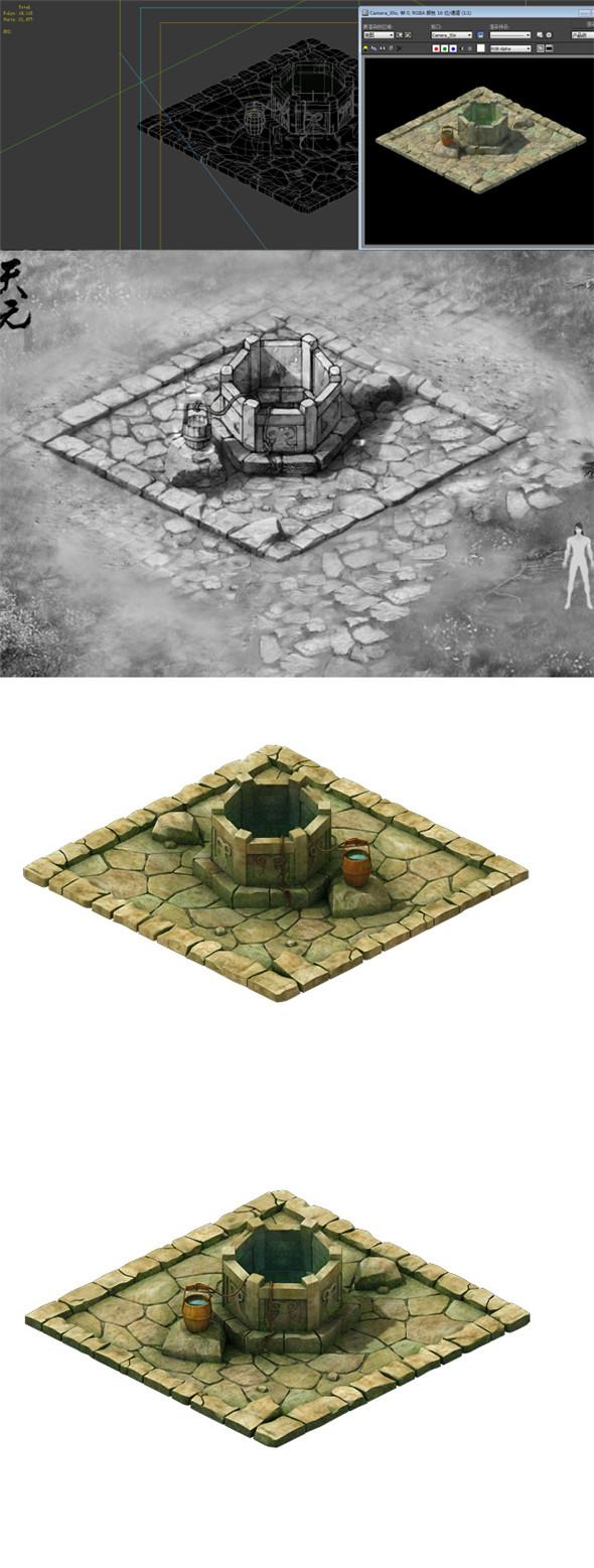 Game Model - prairie scene - Wells 01 - 3DOcean Item for Sale