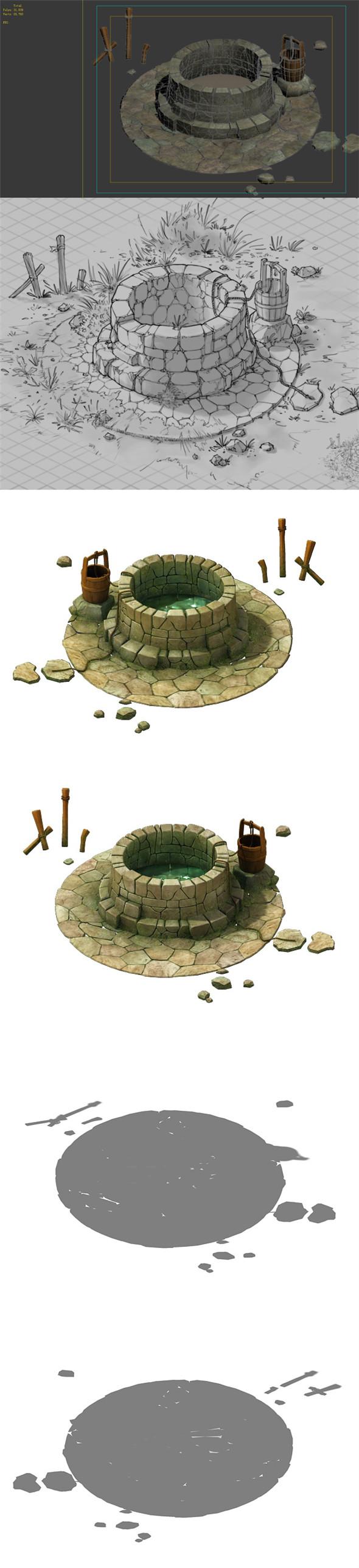 Game Model - prairie scene - Wells 02 01 - 3DOcean Item for Sale