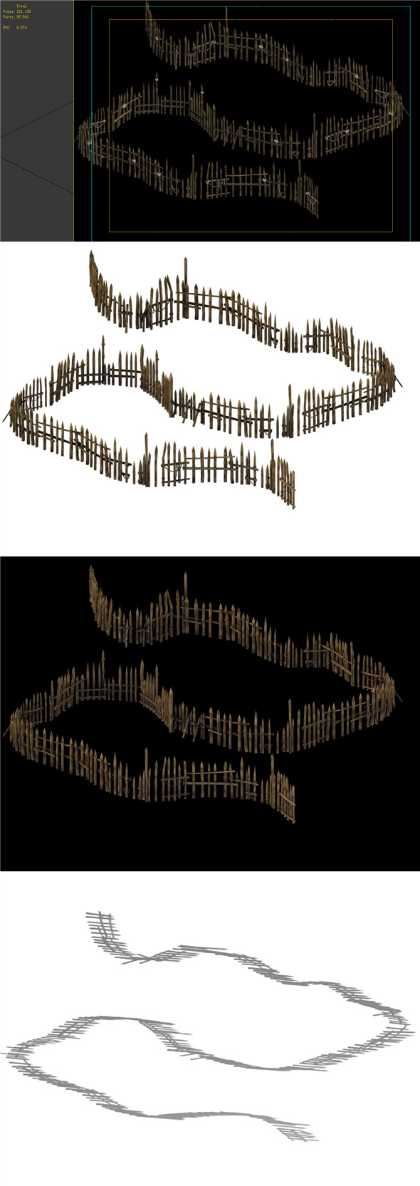 Game Model - prairie scene - wooden fence fence fence 01 - 3DOcean Item for Sale