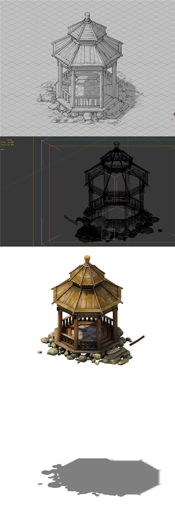 Game Model - prairie scene - wooden gazebo 01 - 3DOcean Item for Sale