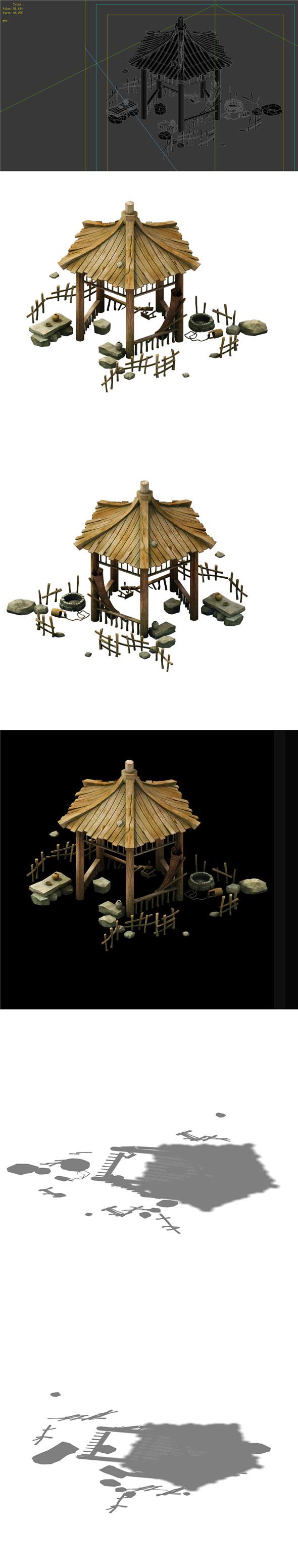 Game Model - prairie scene - wooden gazebo 02 01 - 3DOcean Item for Sale