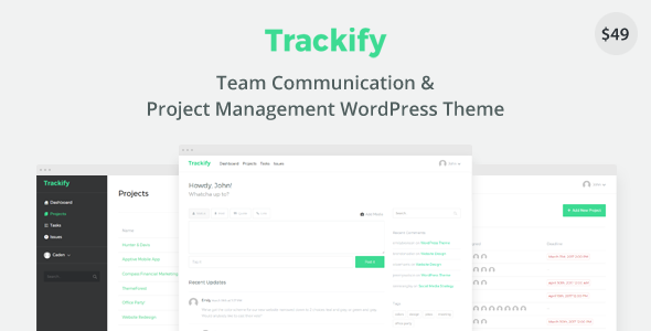 Trackify – Project Management WordPress Theme