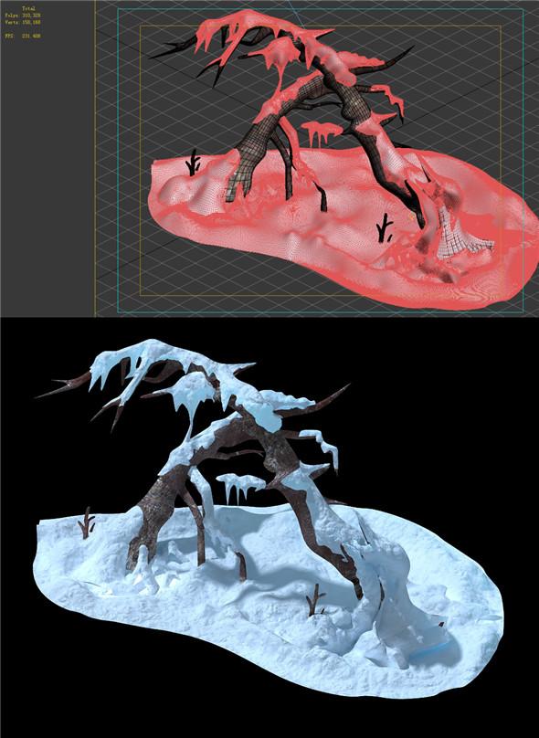 Game Model - snow - crippled trees 01 - 3DOcean Item for Sale