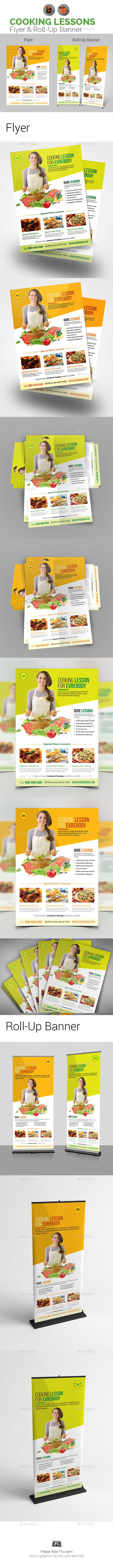 Cooking Lessons Flyer & Roll-Up Banner Bundle - Signage Print Templates