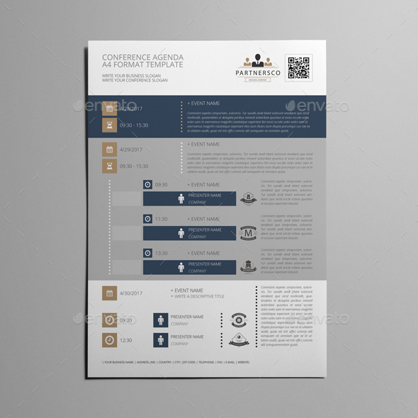Conference Agenda A Template By Keboto  Graphicriver