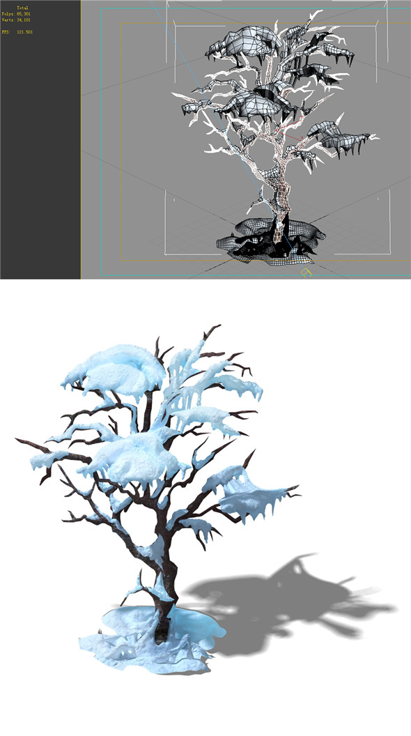 Game Model - snow - ice with maple 01 - 3DOcean Item for Sale