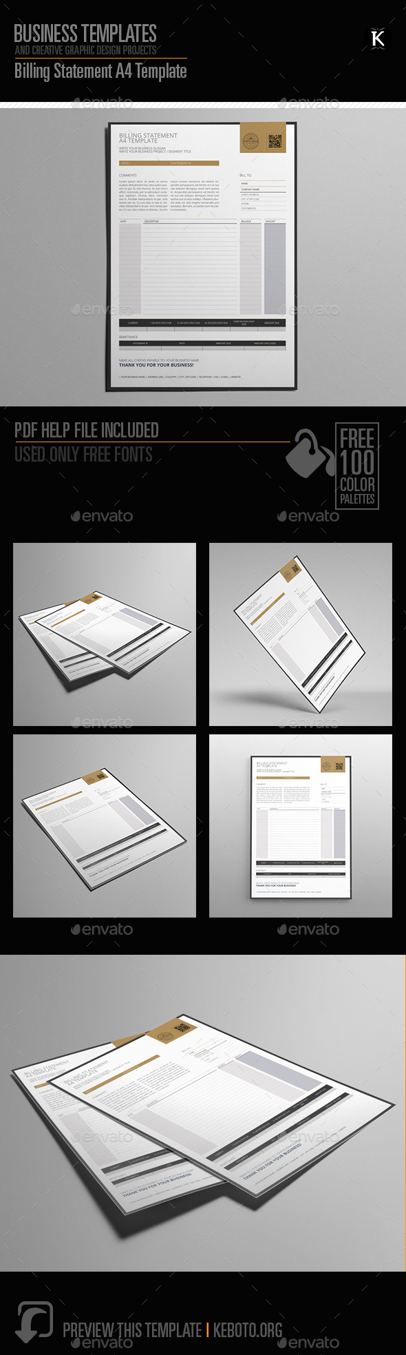 Billing Statement A4 Template - Miscellaneous Print Templates
