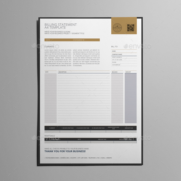 Billing Statement A4 Template By Keboto | Graphicriver
