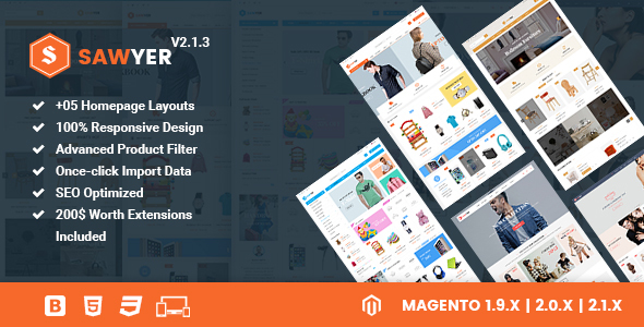 Sawyer - Multipurpose Responsive Magento 2 and 1.9 Theme