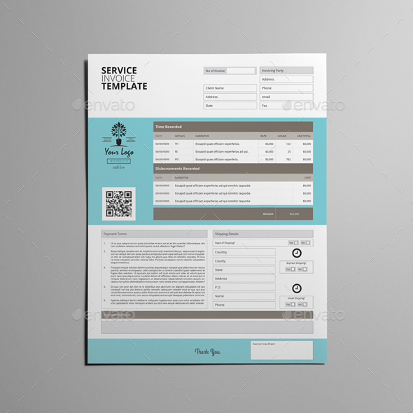 Service Invoice Template US Letter By Keboto GraphicRiver - Us invoice template