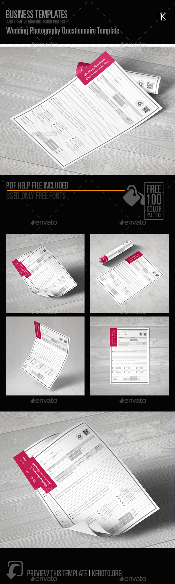 Wedding Photography Questionnaire Template by Keboto | GraphicRiver