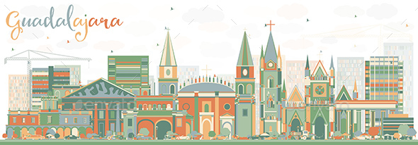 Abstract Guadalajara Skyline with Color Buildings. - Buildings Objects