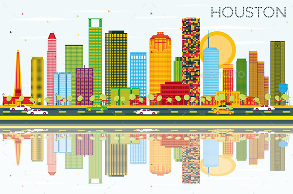 Houston Skyline with Color Buildings, Blue Sky and Reflections. - Buildings Objects