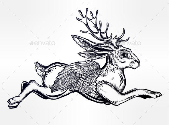 Flying Winged Jacalope Magical Creature. - Monsters Characters