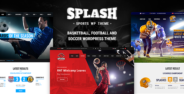 Splash - Sport WordPress Theme for Football, Soccer, Basketball, Baseball, Sport club - Charity Nonprofit