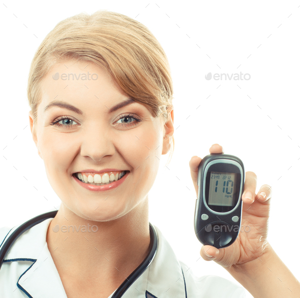 Vintage photo, Woman holding glucose meter and showing thumbs up, checking sugar level - Stock Photo - Images