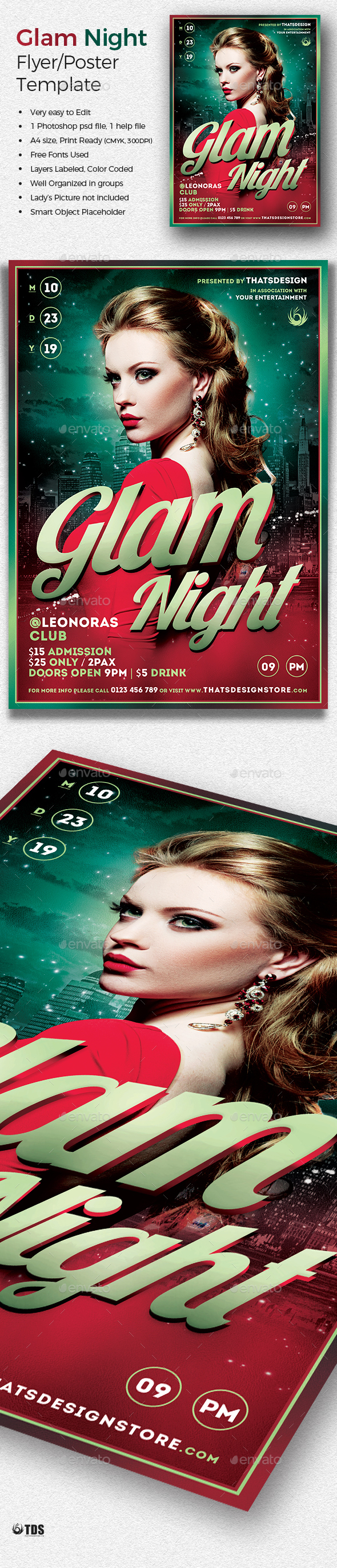 Glam Night Flyer Template - Clubs & Parties Events